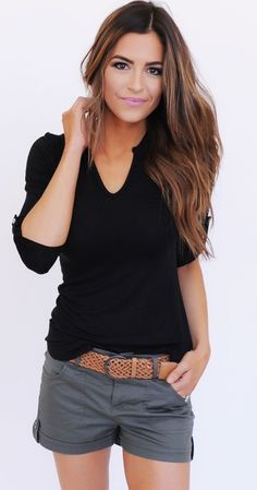 #Summer #Outfits / Black V-Neck Top + Grey Shorts