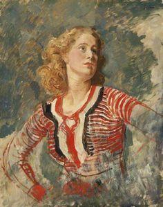 Portrait of Caitlin Thomas, c.1930 by Augustus John (British, 1878-1961)