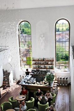 At the Chapel, an eight-room hotel that doubles as a restaurant, triples as a bakery and wine shop, and quadruples as both weekender destination and local living room, in Bruton, England.