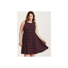 Torrid Multi-Color Striped Jersey Open Back Skater Dress ($17) ❤ liked on Polyvore featuring dresses, plus size, skater dresses, varying stripe, plus size mini dresses, christmas party dresses, plus size going out dresses, jersey dresses and mini skater dress