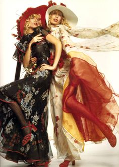 Valentino in the 70s vintage fashion style color photo print ad models magazine long black floral maxi dress white red hats designer couture biba ossie