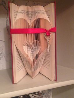 Folded book art key to my heart by Quackers4Books on Etsy
