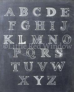 Printable Alphabet Chalkboard Print 8 x 10 by LittleRedWindow