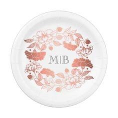 #floral - #Garden Floral Wreath Elegant Rose Gold and White Paper Plate