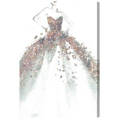 Fashion and Glam Star of the Ball Dress - Wrapped Canvas Graphic Art Print