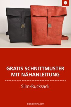 Free Sewing Pattern (Freebook) Sewing Pattern: Slim backpack sewing video tutorial- Gratis Schnittmuster mit Nähanleitung (Freebook): Slim-Rucksack nähen Video-Tutorial Free sewing pattern with sewing instructions (Freebook): … - Bag Patterns To Sew, Sewing Patterns Free, Free Sewing, Pattern Sewing, Crochet Pattern, Free Pattern, Sewing Hacks, Sewing Tutorials, Sewing Projects