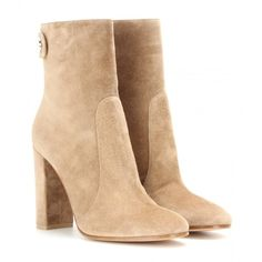 Gianvito Rossi Suede Ankle Boots (1 145 AUD) ❤ liked on Polyvore featuring shoes, boots, ankle booties, beige, short boots, beige boots, gianvito rossi, gianvito rossi boots and suede bootie