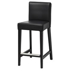 """HENRIKSDAL Bar stool with backrest, brown-black, Glose black, Width: 18 1/2"""". Learn more! - IKEA Chaise Bar Ikea, Table Haute Ikea, Kitchen Counter Chairs, Bar Counter, Ikea Deco, Pub Chairs, Dining Chairs, Room Chairs, Desk Chairs"""