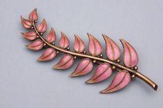 Pink enamel & sterling leaf brooch by David Andersen, Norway
