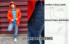 MOLDE CALÇA KID'S Molde de calça para imprimir grátis. Molde de Calça jeans. Para fazer este modelo de calça use um tecido mais apropriado para o efeito, t