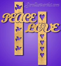 scroll saw church patterns | Word crosses - Peace & Love