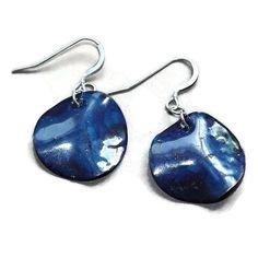 blue rippled disc copper earrings by LunaLocoJewellery on Etsy