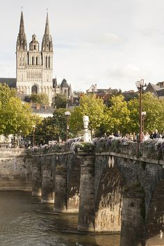 Pont de Verdun and the twelfth-century Cathedral of Saint-Maurice, Angers, France
