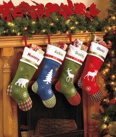 Personalized Lodge Stockings $12.95 each  Choose a Style Bear Tree Deer Moose   for Kris..