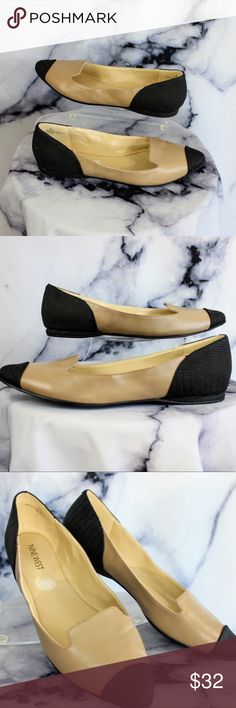 Nine West Shara Driver Loafers Tan Black 7.5 •CONDITION: pre owned.  •FLAWS: No pilling, stains, or rips. •Feel free to make an offer -OR- bundle your likes for me and I'll send you an offer with an exclusive discount! Nine West Shoes Flats & Loafers