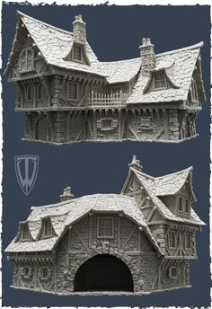 The Dark Prophet Chronicles: The Happy Spender: The Coaching Inn and the Town House II from Tabletop World Medieval Houses, Medieval Town, Medieval Fantasy, Victorian Houses, Environment Concept Art, Environment Design, Zbrush, Casa Estilo Tudor, Building Concept