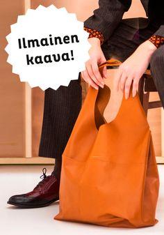 Tulosta ilmainen kaava nahkalaukkuun: http://www.nordicpatterns.fi/collections/ale/products/nahkalaukku