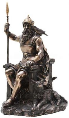 "Odin 12 1/2"". An impressive statue of Odin the All Father sitting upon his throne holding his mighty spear. A raven on his shoulder and a wolf at his feet. Cold cast resin. 12 1/2"" x 7 1/4"" x 6 1/2"""