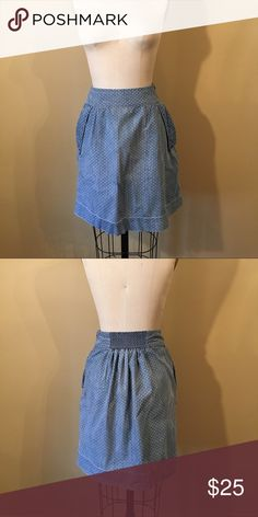 Anthropologie - Dotted Chambray Skirt Holding Horses by Anthropologie. Lightweight chambray material. Side-zip for closure. Smocked detail at backside of waist for stretch. Pockets with fold and hardware detailing. Tiny, subtle polka dot motif. Anthropologie Skirts A-Line or Full