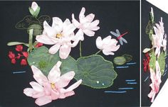 ORCHIDS 3D Ribbon embroidery on printed canvas with back woodden frame size: cm. 43X32,5 Price: € 120,00 $ code: P003