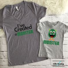 38493e789e I've Created A Monster Set | mommy and me | mommy and me outfit | Matching  mommy | Mommy and me shir