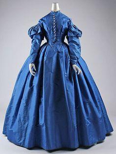 Circa 1867 Blue Silk Dress via the Met Museum.