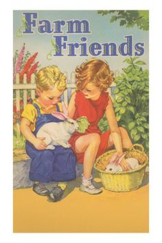 Farm Friends, Children with Rabbits Posters at AllPosters.com