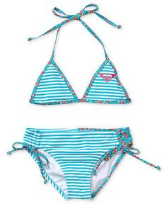 Roxy Kids Swimwear, Little Girls Stripe Two-Piece Swimsuit - Kids Toddler Girls (2T-5T) - Macy's