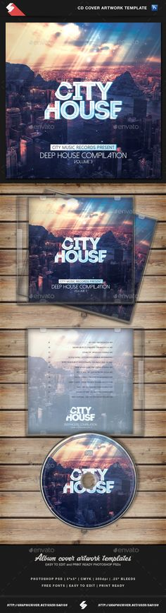 City House - CD Cover Artwork Template PSD. Download here: http://graphicriver.net/item/city-house-cd-cover-artwork-template/10927969?ref=ksioks