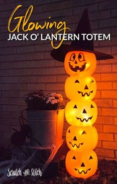 Glowing Jack O' Lantern Totem Glowing Plastic Jack O' Lantern Halloween Decoration by Scratch and Stitch Related posts:Awesome and Easy DIY Halloween Costumes for Teen GirlsTake this fun personality Quiz and find What are you to boys Halloween Vintage, Fröhliches Halloween, Adornos Halloween, Dollar Store Halloween, Holidays Halloween, Halloween Office, Halloween Projects, Halloween Yard Ideas, Diy Projects