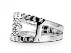 Bague Praha or blanc diamant 1,57 carat et princesses diamant