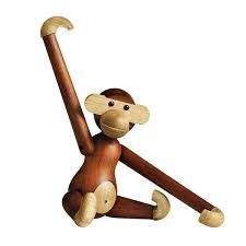Rosendahl Kay Bojesen Small Wooden Monkey: This mall wooden Monkey was carefully crafted from Kay Bojesen Design.  Perfect for your home or your little one's toy collection.   It has a beautiful smooth finish and features fully functioning joints.  A toy to cherish for a lifetime,  it can be positioned as desired to add a sense of fun to any room. Complete with gift packaging which makes it a wonderful gift by Rosendahl.