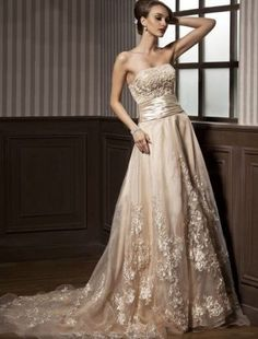 A-Line/Princess Strapless Court Train Organza Satin Wedding Dress With Ruffle Beading Appliques Lace - JJsHouse 2015 Wedding Dresses, Colored Wedding Dresses, Cheap Wedding Dress, Wedding Gowns, Bridesmaid Dresses, Lace Beadwork, Ruffle Beading, Perfect Wedding Dress, Strapless Dress Formal