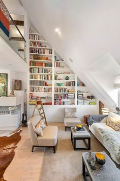 Loft apartment with great bookshelves