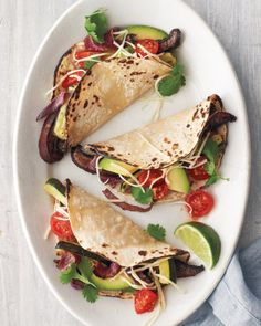 """Martha Stewart- See the """"Portobello-and-Zucchini Tacos"""" in our Meatless Comfort Food Recipes gallery Vegetarian Tacos, Vegetarian Recipes, Cooking Recipes, Healthy Recipes, Veggie Tacos, Vegetarian Mexican, Vegetarian Sandwiches, Veggie Food, Cooking Tips"""
