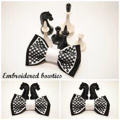 Black white chess bow tie Gift ideas for him Groomsman bow tie Gifts for boyfriend Men's bowties Embroidered bow ties Unisex bow tie