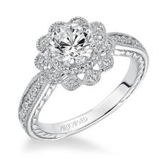 Staffords Diamonds :: PRIMROSE | Halo Hand Engraved and Milgrain Diamond Engagement Ring Center stone not included.