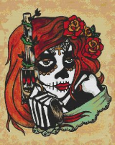 Modern Cross stitch Kit 'Adelita' By Illustrated Ink - Day of the Dead tattoo sugar skull