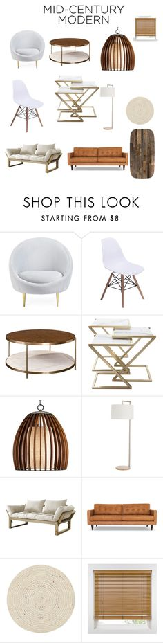 """Mid century modern"" by ccwash03 ❤ liked on Polyvore featuring interior, interiors, interior design, home, home decor, interior decorating, Jonathan Adler, Arteriors, Fresh Futon and Joybird"