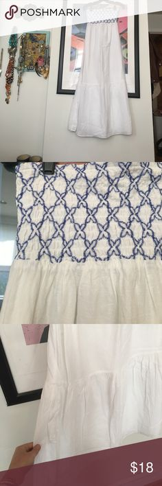 White and blue smocked top maxi who's ready for summer?!?! perfect light and breezy summer dress for BBQ'a, beach days, and back yard parties. white with blue smocking on the top, flair/ruffle on the bottom. Gently worn, but some discoloration around bottom hem LOFT Dresses Maxi