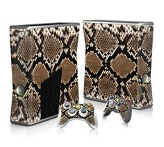 Snake Skin sticker skin for Xbox 360 slim - Decal Design