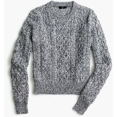 J.Crew Marled Cable Crewneck Sweater ($86) ❤ liked on Polyvore featuring tops, sweaters, j crew sweaters, cotton cable knit sweater, cotton crew neck sweater, crewneck sweaters and long sleeve sweater