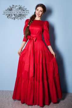 Some say that it is bad for a woman to wear red but it isn't. Red is beautiful and there is a shade of red for every woman. Modest Dresses, Casual Dresses, Short Dresses, Fashion Dresses, Indian Evening Gown, Evening Gowns, Designer Anarkali Dresses, Designer Dresses, Western Dresses