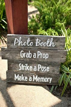Wooden photo booth sign perfect for rustic photo booth directs guests to have fun with props for a fun keepsake photo. Wedding Props, Rustic Wedding Signs, Wedding Signage, Diy Wedding Photo Booth, Diy Party Photo Booth, Diy Photo Booth Backdrop, Photo Booth Background, Yard Wedding, Wedding Tables