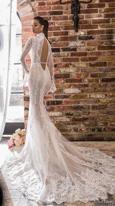 7b37ad4b4222 elihav sasson 2019 bridal long poet sleeves high neck keyhole bodice full  embellishment slit skirt elegant