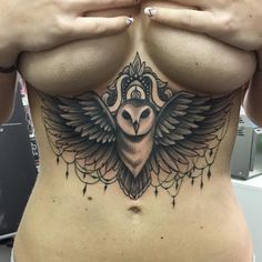 Under Breast Owl Tattoo / Artist..Giuliano D'ambrosio Pin Up Style Tattooshop.