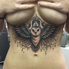 Under Breast Owl Tattoo / Artist..Giuliano D'ambrosio  Pin Up Style Tattooshop.