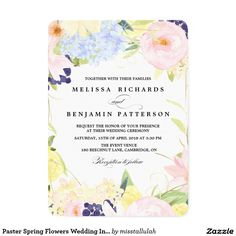 "Paster Spring Flowers Wedding Invitation 5"" X 7"" Invitation Card"