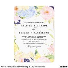 "Paster Spring Flowers Wedding Invitation 5"" X 7"" Invitation Card"