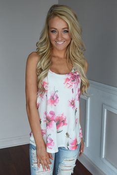Old Time Romance Tank ~ Pink Floral – The Pulse Boutique